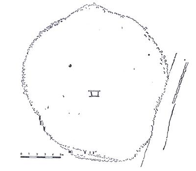 Sl.1.Tlocrt liburnske gomile s grobom na trasi puta lokacija Čuh polje