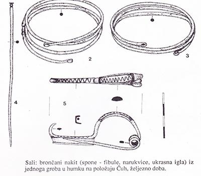 sl.3. Brončani nakit iz liburnskog groba lokacija polje Čuh