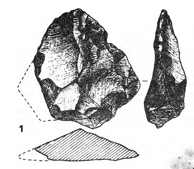 Slika 4. Kremeni predmet iz srednjeg paleolitika (kultura mousterien), lokacija Krševanje polje